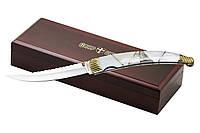 Подарочный складной нож элитный, рукоять натуральная перламутровая ракушка, мрамор, подарок для мужчины, выкид