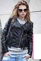 Стильная куртка косуха из кожзама с бахромой