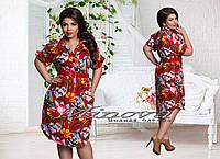 Женское модное платье-рубашка с ярким цветочным принтом т. стрейч-креп / батал / красное