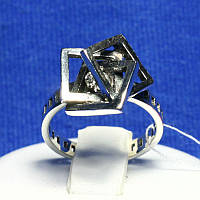 Необычное кольцо из серебра Три Квадрата 1075, фото 1