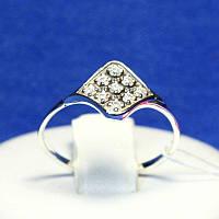 Кольцо из серебра с цирконием Ромб 1129