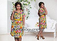 Женское модное платье-рубашка с ярким цветочным принтом т. стрейч-креп / батал / желтое