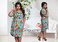 Женское модное платье-рубашка с ярким цветочным принтом т. стрейч-креп / батал / минт