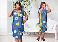"""Женское модное платье MIDI """"Цветы"""" т. турецкий стрейч-коттон / батал / синее"""
