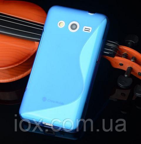 """Силиконовый голубой чехол """"S-линия"""" для Samsung Galaxy J5"""