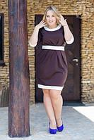 Платье Трикотажное Большой Размер Красивая Отделка Хорошо Сидит