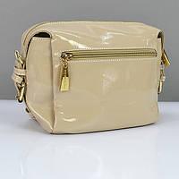 Бежевая лаковая сумочка Valenciy женская молодежная
