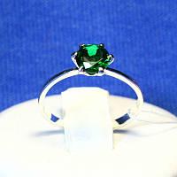 Серебряное кольцо с зеленым фианитом на помолвку 1065з, фото 1