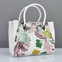 Белая компактная сумочка в цветах с двумя ручками, фото 1