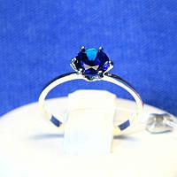 Серебряное кольцо для помолвки с синим фианитом 1065с, фото 1