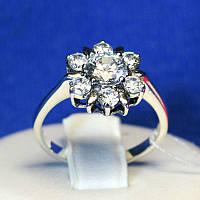 Серебряное кольцо с фианитом Цветок 1068, фото 1