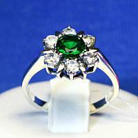 Срібне кільце з зеленим каменем 1068з