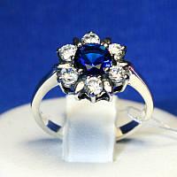 Серебряное кольцо Цветок с синим фианитом 1068с