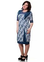 Платье БАТАЛ синее ромашки вставки гипюр 12/322