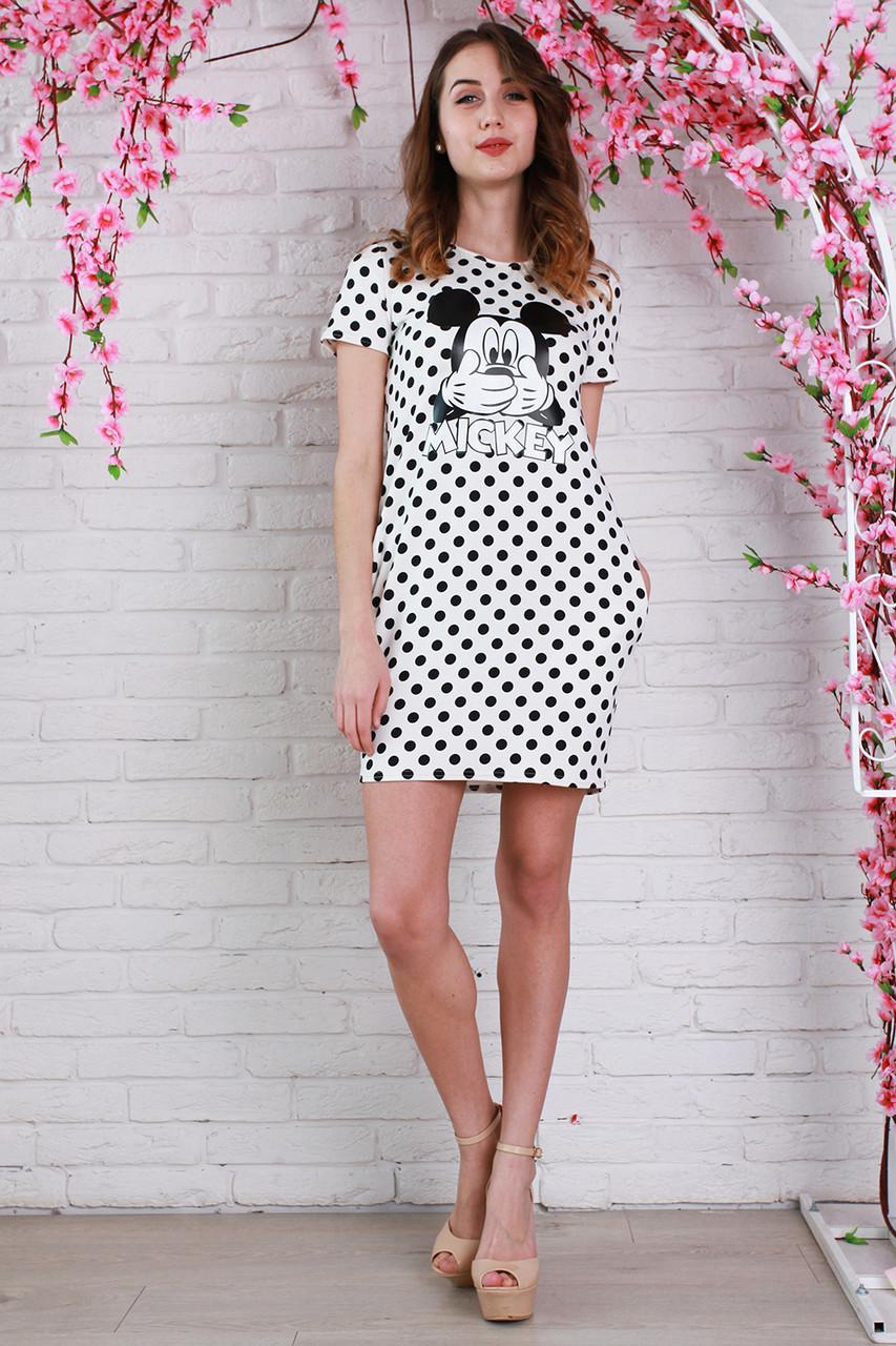 3c6c2e7bce3 Молодежное летнее платье в горошек и рисунком Микки Маус от оптово ...