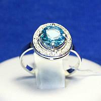 Серебряное кольцо с голубым фианитом 11090г, фото 1