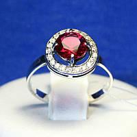 Серебряное кольцо с красным камнем 11090к, фото 1