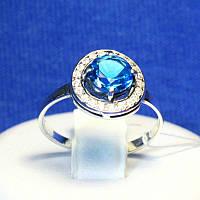Серебряное кольцо с синим камнем 11090с, фото 1