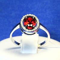 Серебряное кольцо с красным камнем 11095к, фото 1