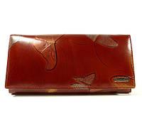 Кожаный кошелек  Lison Kaoberg 9-8381 коричневый с бабочками, монетница внутри