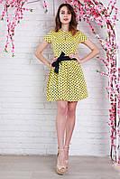 Красивое летнее платье в желтом цвете в мелкий горошек и поясом в комплекте