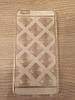 Силиконовый 3D серебристый чехол для Iphone 6 plus