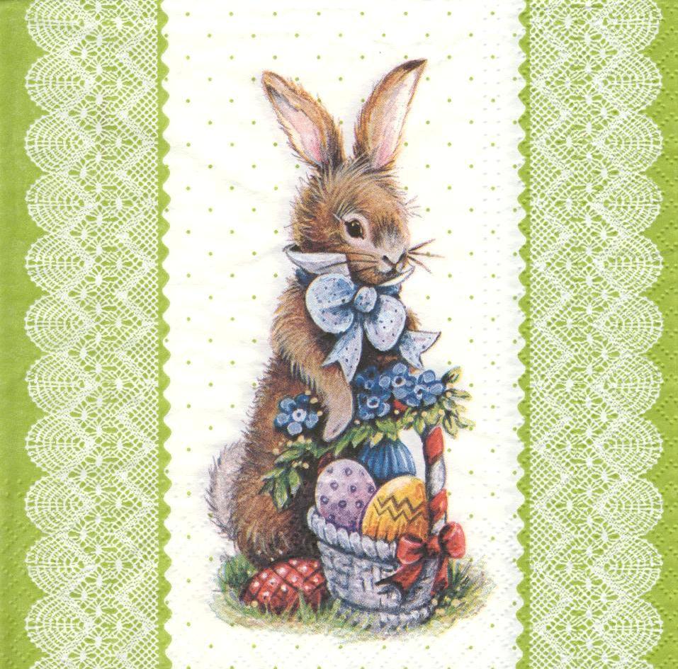 Декупажная салфетка Кролик с пасхальной корзинкой 5765