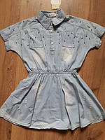 """Летнее джинсовое платье для девочки """"Летучая мышь""""на резинке с воротником 134-158 рост"""