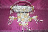 Набор свадебных аксессуаров (корзинка для лепестков, подушечка для колец и бутоньерки)