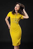 Трикотажное платье с камнями. Код модели Л-33-07-16. Цвет горчица.