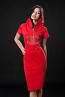 Трикотажное платье с камнями. Код модели Л-33-07-16. Цвет красный.