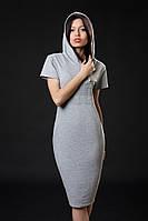 Трикотажное платье с камнями. Код модели Л-33-07-16. Цвет серый меланж.