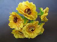 Декоративные цветы дикого мака d 4.5-5 см, 6 шт/уп, желтого цвета