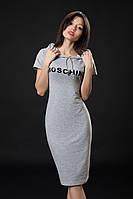 Трикотажное платье Моschino. Код модели Л-33-07-16. Цвет серый меланж.