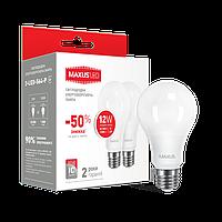 Светодиодная лампа Maxus 12W 220V E27 3000К (Мягкий свет) 2-LED-563-P (по 2 шт.)