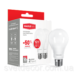 Светодиодная лампа Maxus 12W 220V E27 3000К Мягкий свет 2-LED-563-P (по 2 шт.)
