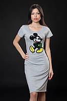 Трикотажное платье с Микки Маусом. Код модели Л-34-07-16. Цвет серый меланж.