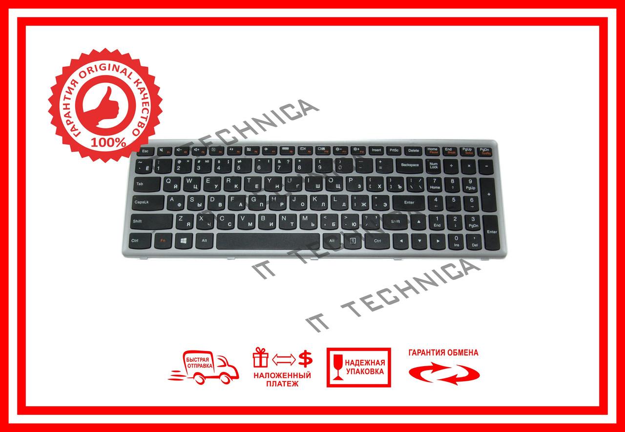 Клавіатура LENOVO Flex 15, Flex 15D, G500s, G505s, S510p чорна с серебристой рамкой RUUS