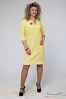 Элегантное весеннее платье прямого покроя с рукавом три четверти хлопковый жаккард большого размера 48-56, фото 1