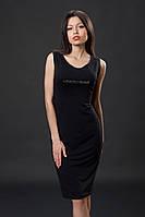 Трикотажное платье с камнями. Код модели Л-35-07-16. Цвет черный.