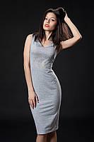 Трикотажное платье с камнями. Код модели Л-35-07-16. Цвет серый меланж.