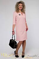 Елегантне весняна сукня прямого крою з рукавом три чверті бавовняний жаккард великого розміру 48-56, фото 1