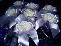"""Украшение на свадебную машину розы """"Бантик"""" белый цвет"""