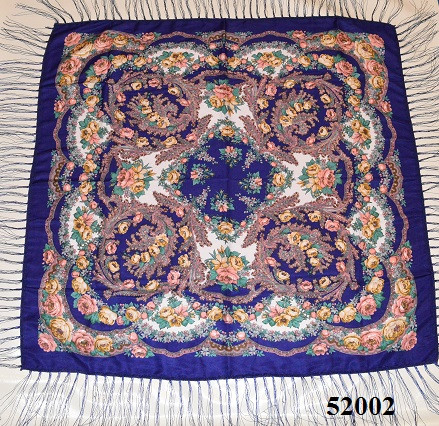 Теплый стильный павлопосадский платок (52002) 2