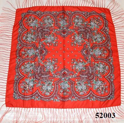 Теплый стильный павлопосадский платок (52003) 2