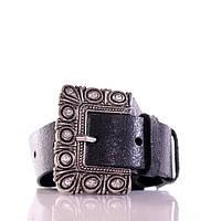 (Phaedra) Итальянская кожа с блеском. Пряжка старое серебро с камнями. Ремень Г3550Ш26 черный