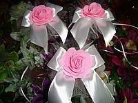 """Бутоньерка на ручки авто розы """"Бантик"""" розово-белый цвет"""