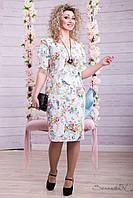 Платье летнее с цветочным принтом из жаккарда ниже колена большие размеры 46-54