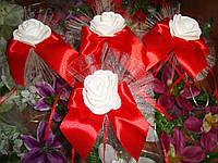 """Украшение на свадебную машину розы """"Бантик"""" красно-белый цвет"""