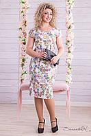 Летнее платье с короткими рукавами цветы ниже колена большие размеры 48-54
